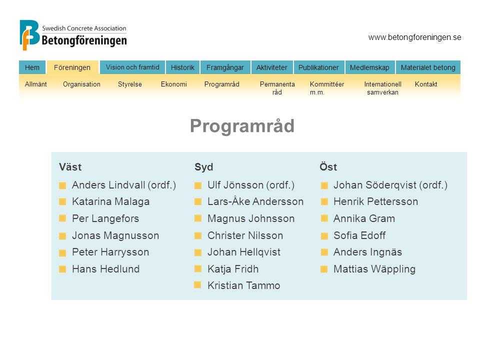 Programråd Anders Lindvall (ordf.) Katarina Malaga Per Langefors