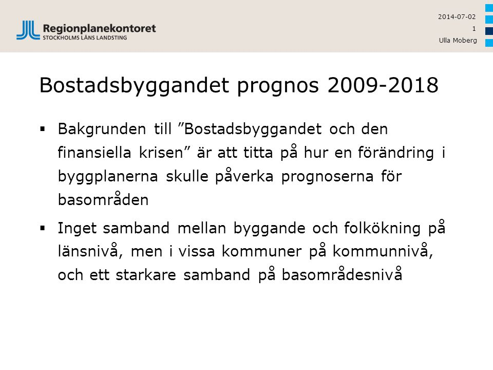 Bostadsbyggandet prognos 2009-2018