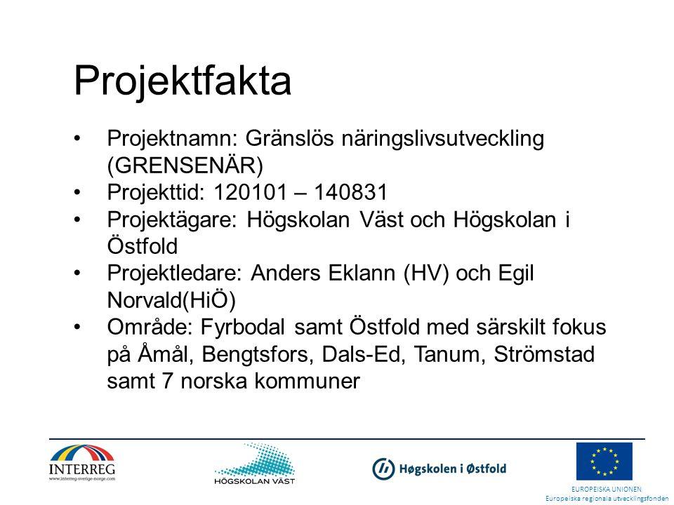 Projektfakta Projektnamn: Gränslös näringslivsutveckling (GRENSENÄR)