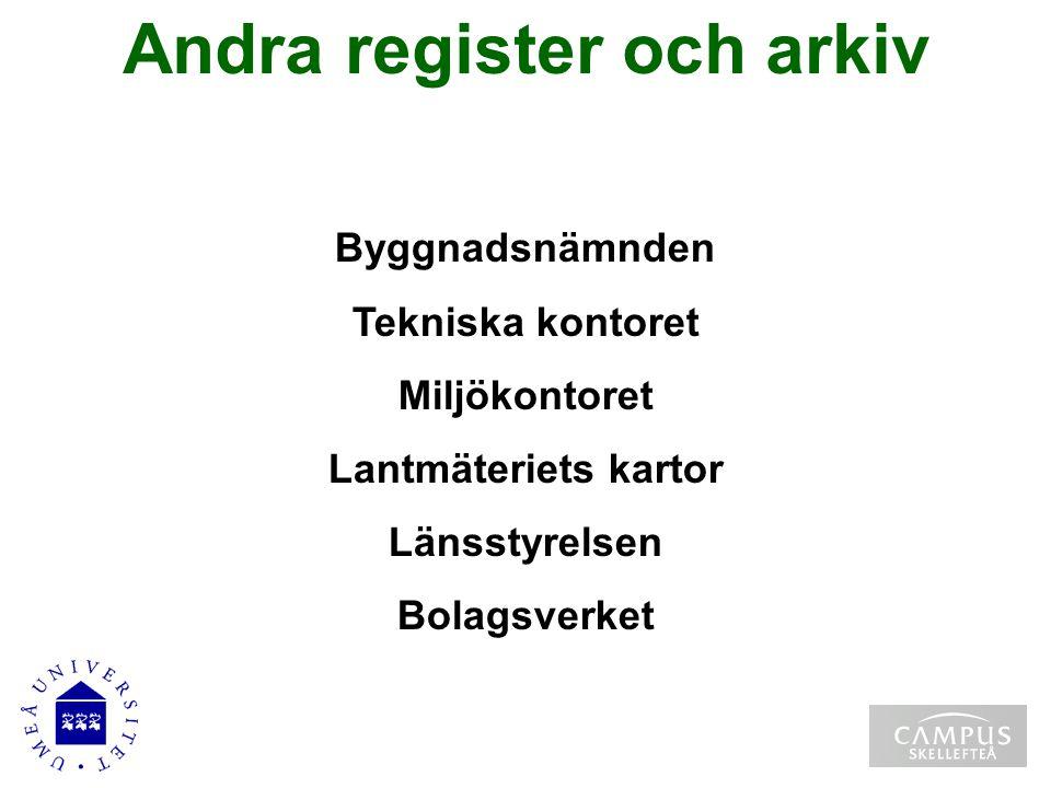 Andra register och arkiv