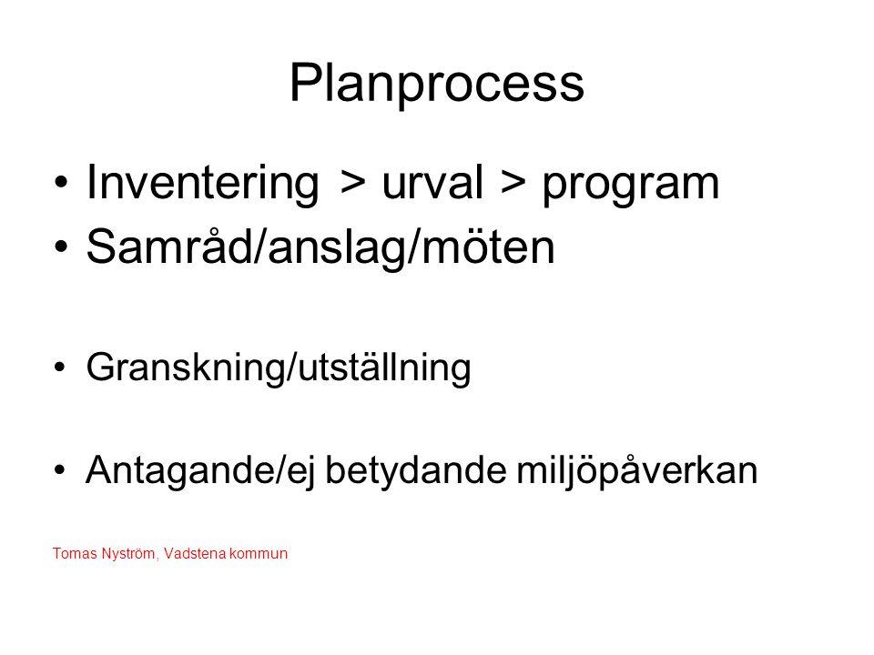 Planprocess Inventering > urval > program Samråd/anslag/möten