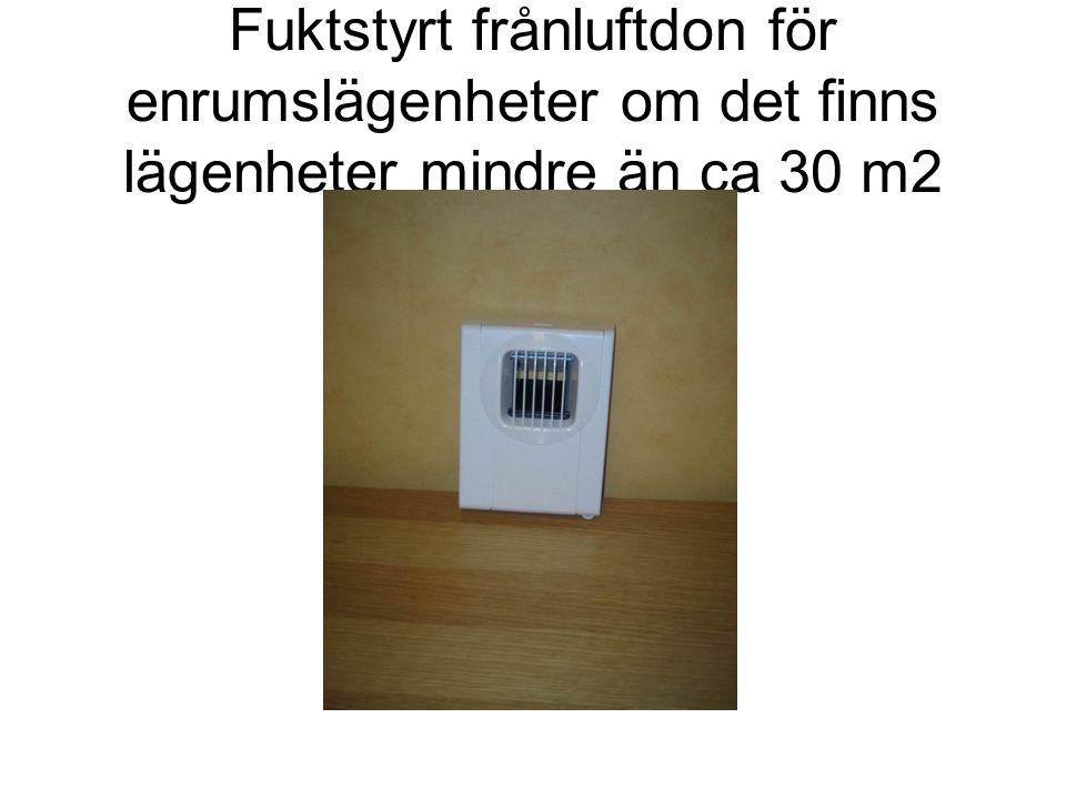 Fuktstyrt frånluftdon för enrumslägenheter om det finns lägenheter mindre än ca 30 m2