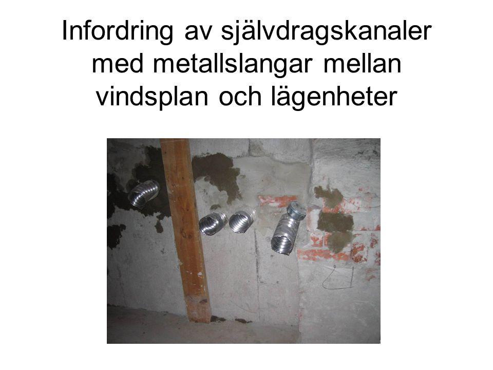 Infordring av självdragskanaler med metallslangar mellan vindsplan och lägenheter
