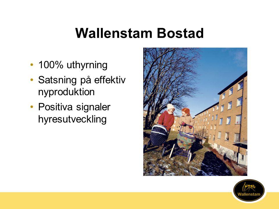 Wallenstam Bostad 100% uthyrning Satsning på effektiv nyproduktion