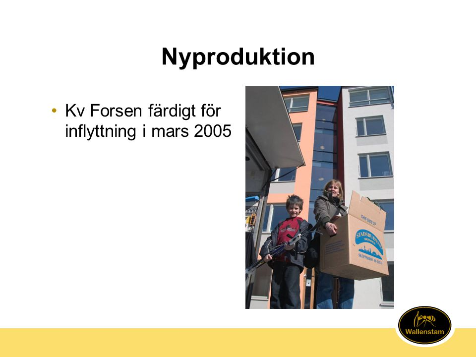 Nyproduktion Kv Forsen färdigt för inflyttning i mars 2005