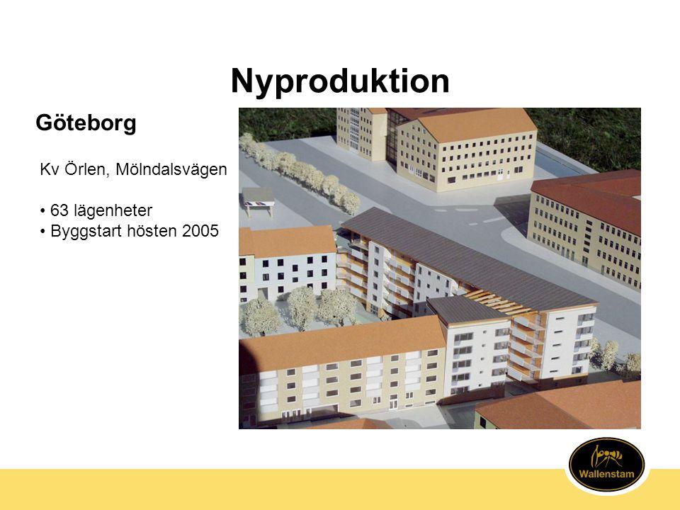 Nyproduktion Göteborg Kv Örlen, Mölndalsvägen 63 lägenheter
