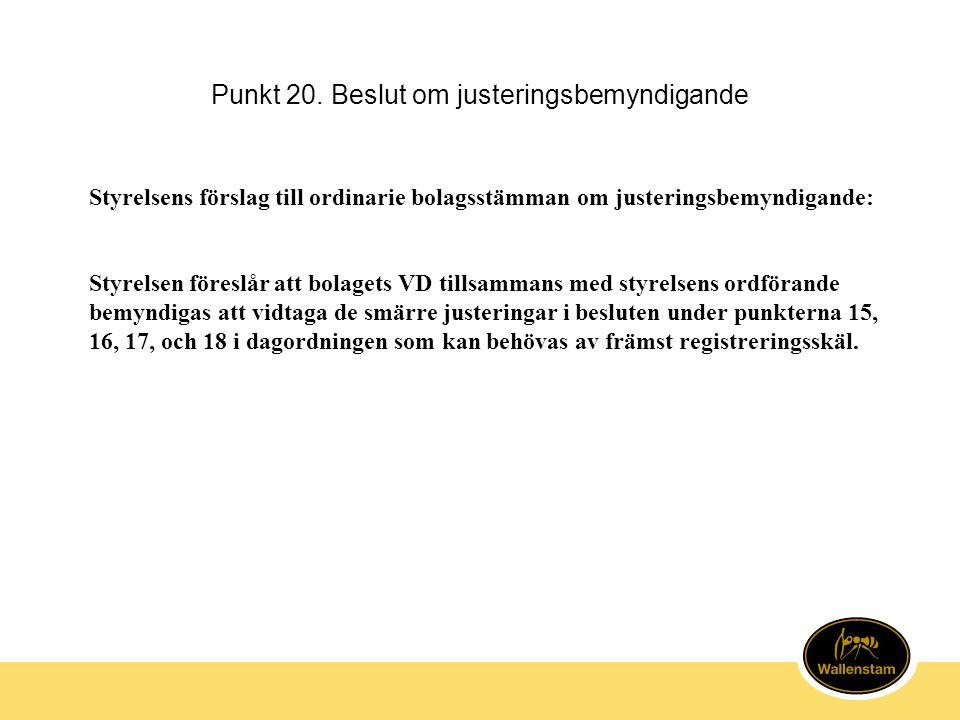 Punkt 20. Beslut om justeringsbemyndigande