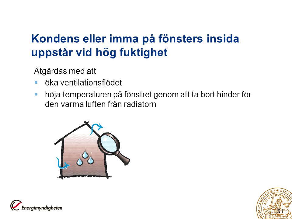 Kondens eller imma på fönsters insida uppstår vid hög fuktighet