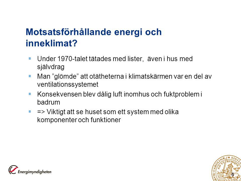 Motsatsförhållande energi och inneklimat