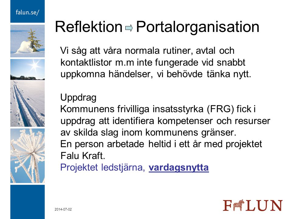 Reflektion Portalorganisation