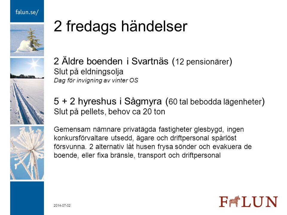 2 fredags händelser 2 Äldre boenden i Svartnäs (12 pensionärer)