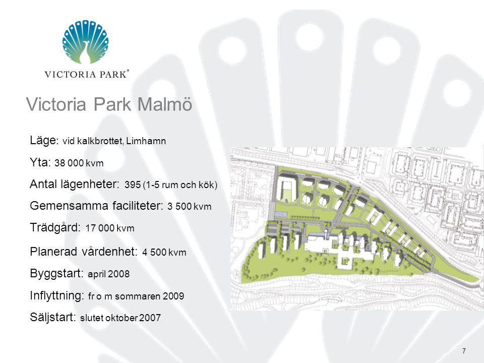 Victoria Park Malmö Läge: vid kalkbrottet, Limhamn Yta: 38 000 kvm