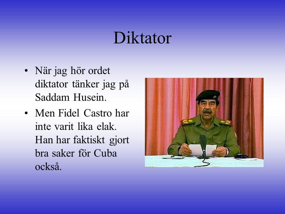 Diktator När jag hör ordet diktator tänker jag på Saddam Husein.