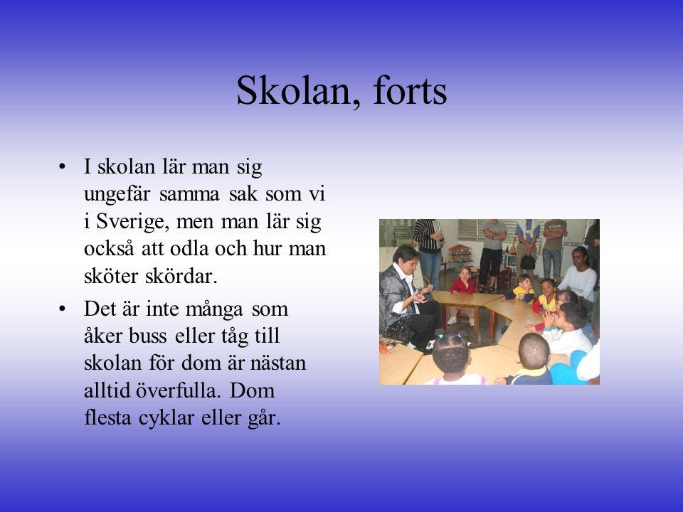 Skolan, forts I skolan lär man sig ungefär samma sak som vi i Sverige, men man lär sig också att odla och hur man sköter skördar.