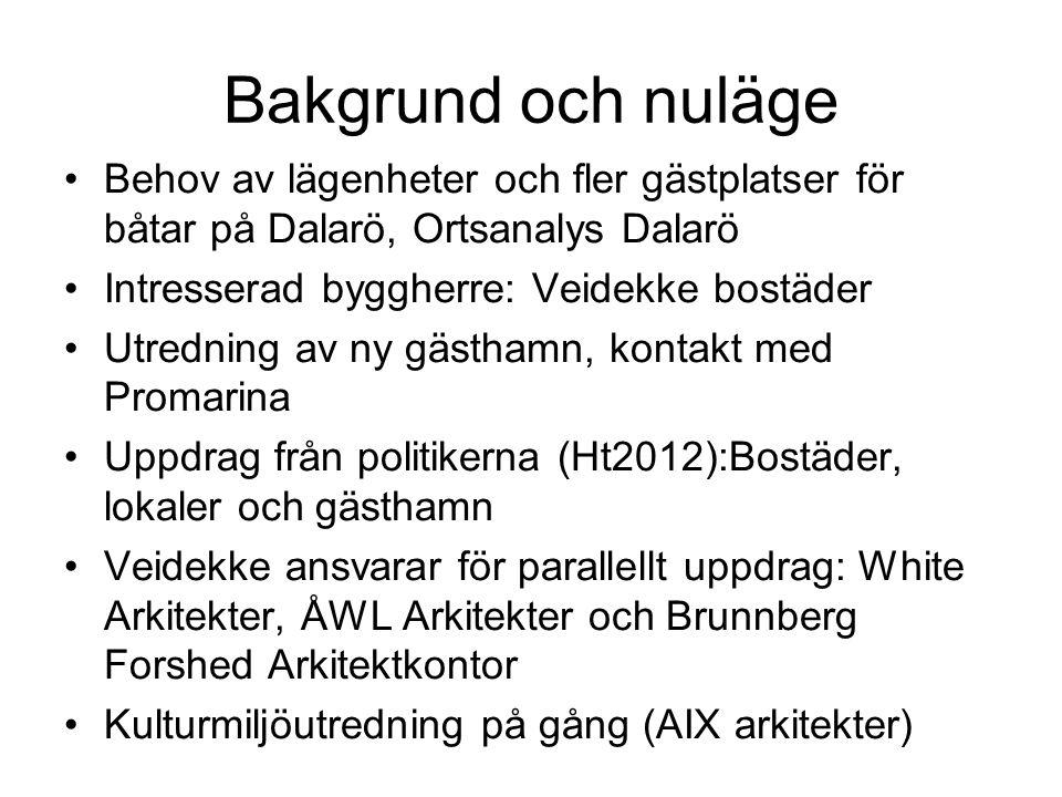 Bakgrund och nuläge Behov av lägenheter och fler gästplatser för båtar på Dalarö, Ortsanalys Dalarö.