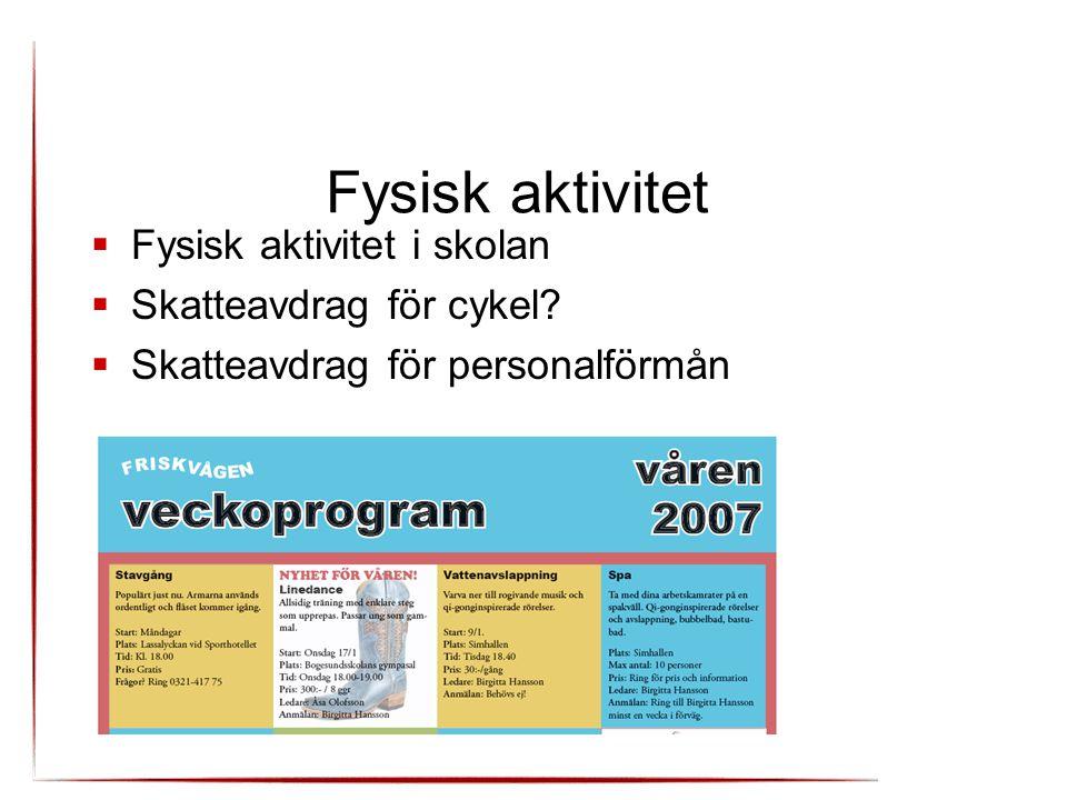 Fysisk aktivitet Fysisk aktivitet i skolan Skatteavdrag för cykel