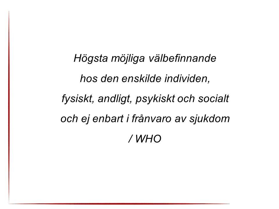 Högsta möjliga välbefinnande hos den enskilde individen, fysiskt, andligt, psykiskt och socialt och ej enbart i frånvaro av sjukdom / WHO