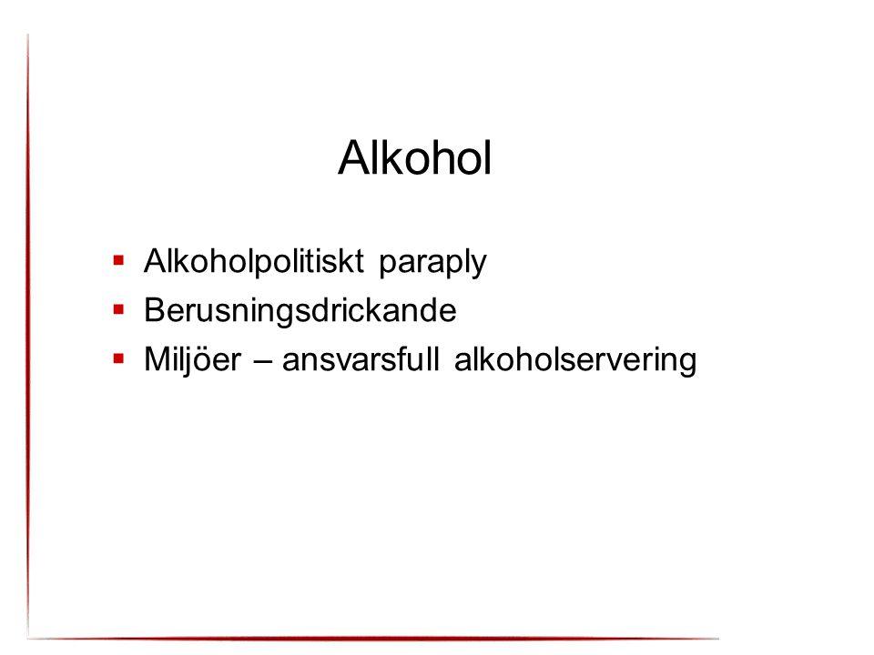 Alkohol Alkoholpolitiskt paraply Berusningsdrickande
