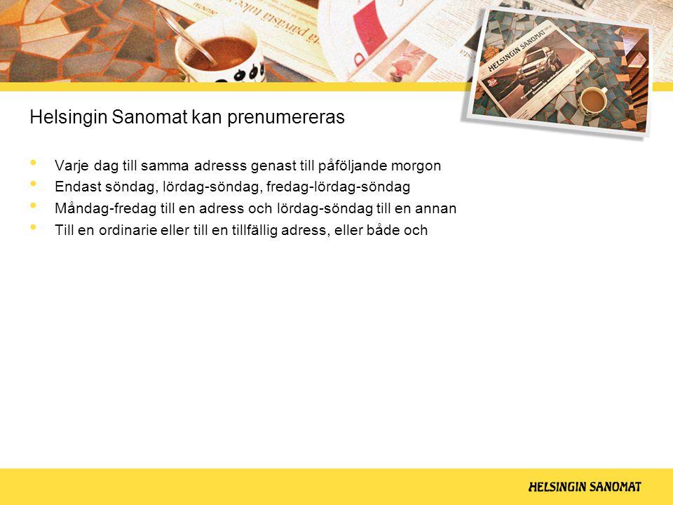Helsingin Sanomat kan prenumereras