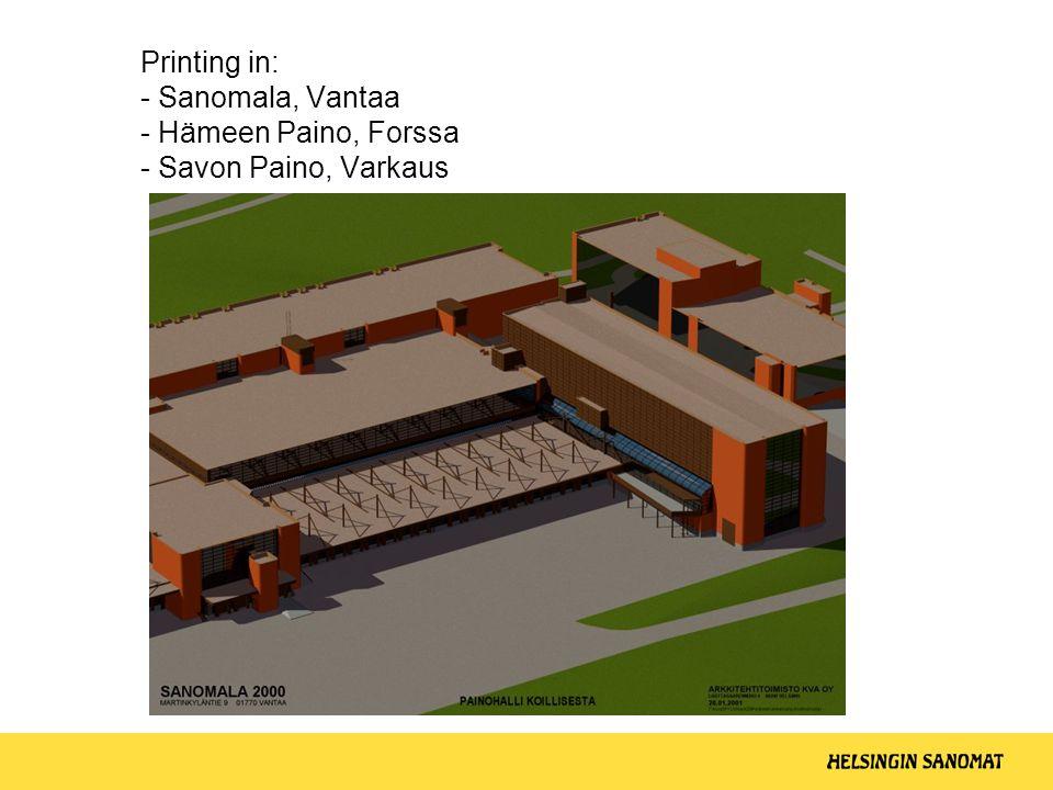 Printing in: - Sanomala, Vantaa - Hämeen Paino, Forssa - Savon Paino, Varkaus