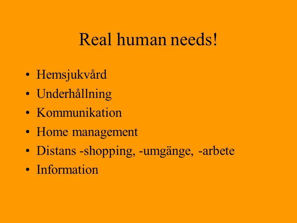 Real human needs! Hemsjukvård Underhållning Kommunikation
