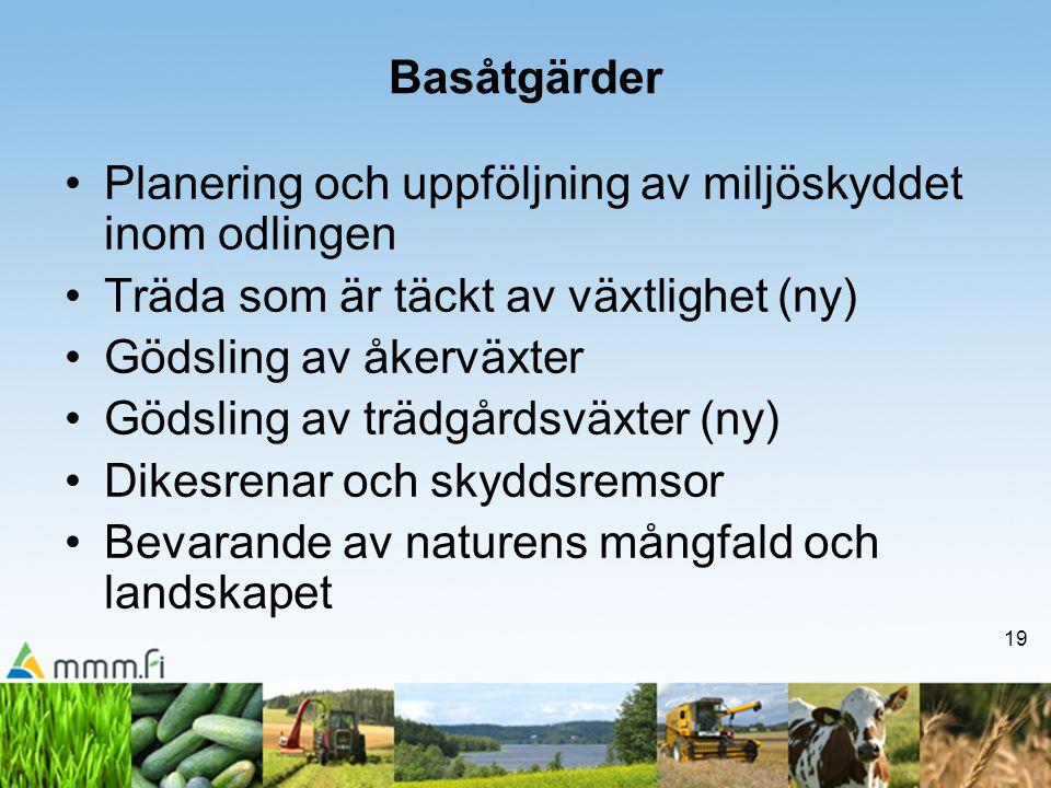 Basåtgärder Planering och uppföljning av miljöskyddet inom odlingen. Träda som är täckt av växtlighet (ny)