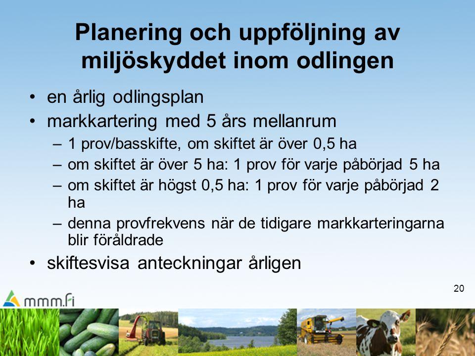 Planering och uppföljning av miljöskyddet inom odlingen