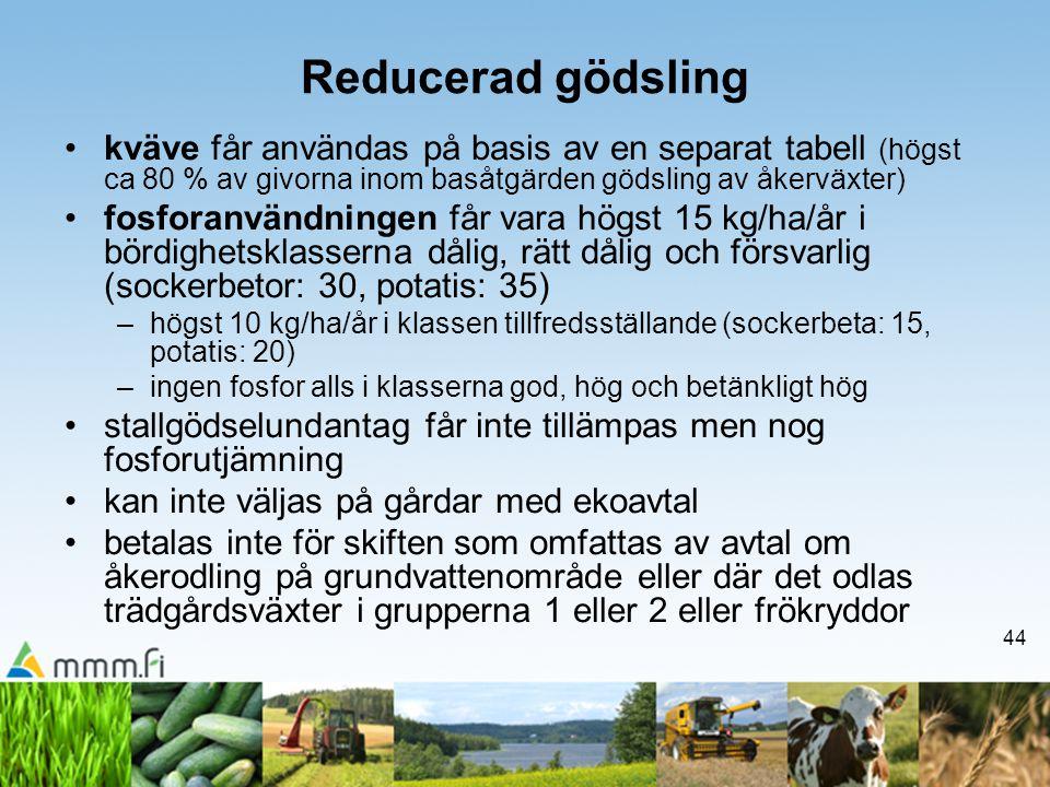 Reducerad gödsling kväve får användas på basis av en separat tabell (högst ca 80 % av givorna inom basåtgärden gödsling av åkerväxter)