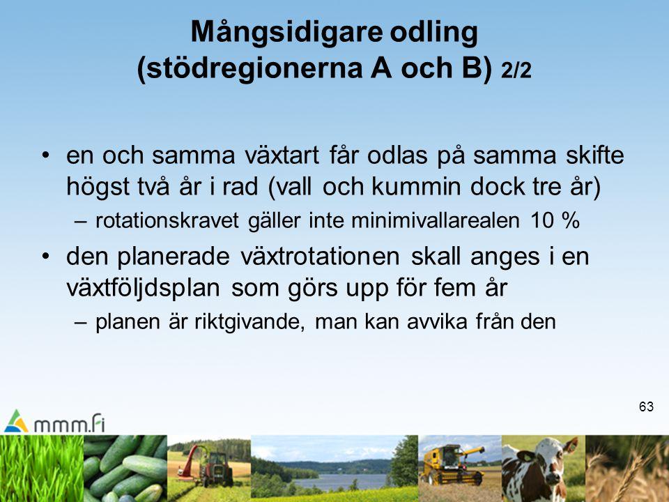 Mångsidigare odling (stödregionerna A och B) 2/2
