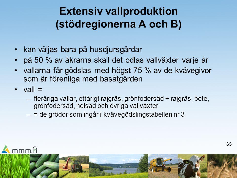 Extensiv vallproduktion (stödregionerna A och B)