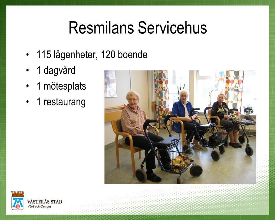 Resmilans Servicehus 115 lägenheter, 120 boende 1 dagvård 1 mötesplats