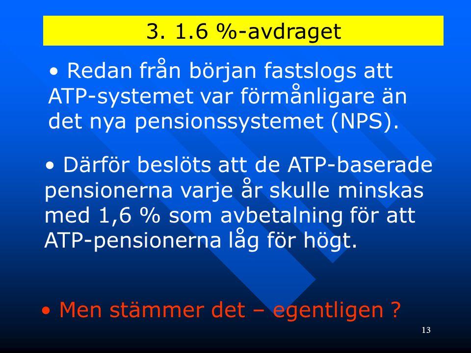 3. 1.6 %-avdraget Redan från början fastslogs att ATP-systemet var förmånligare än det nya pensionssystemet (NPS).