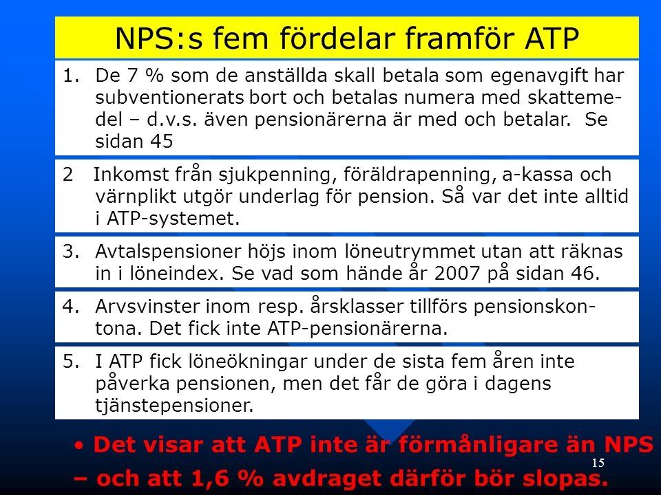 NPS:s fem fördelar framför ATP