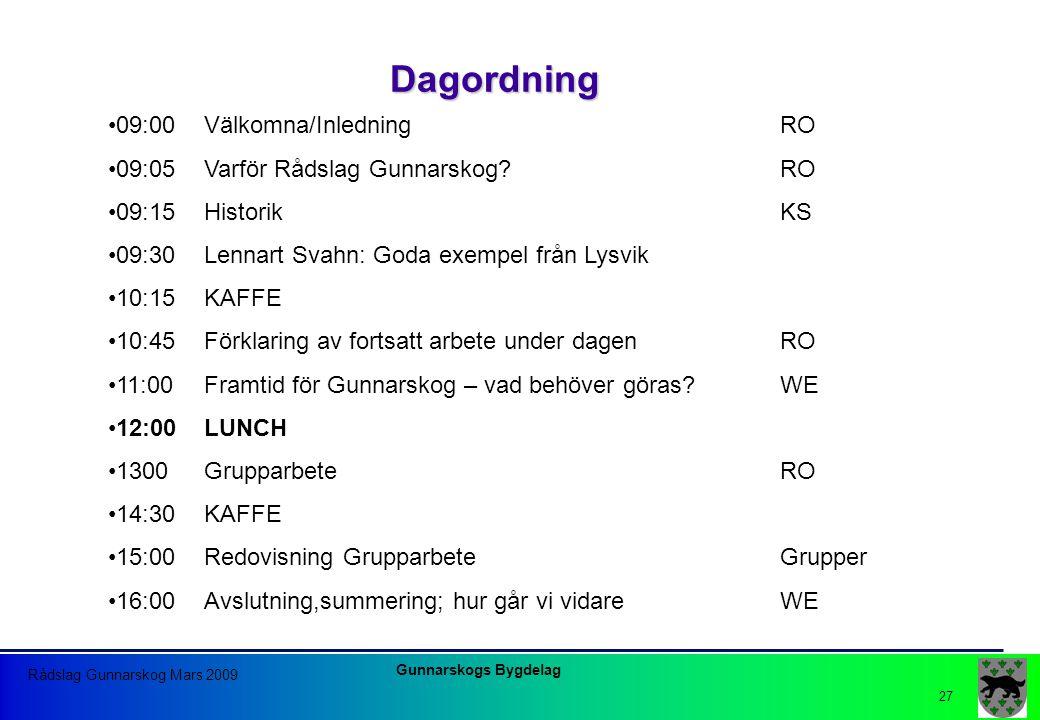 Dagordning 09:00 Välkomna/Inledning RO