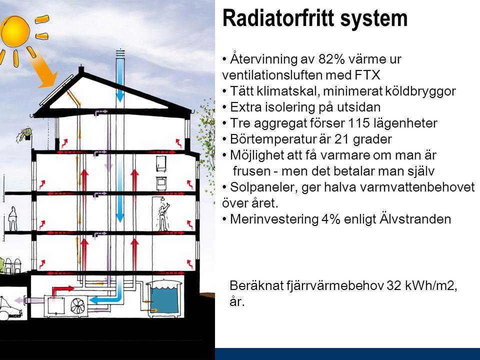 Radiatorfritt system Återvinning av 82% värme ur ventilationsluften med FTX. Tätt klimatskal, minimerat köldbryggor.
