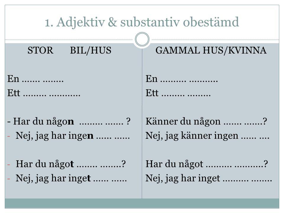1. Adjektiv & substantiv obestämd