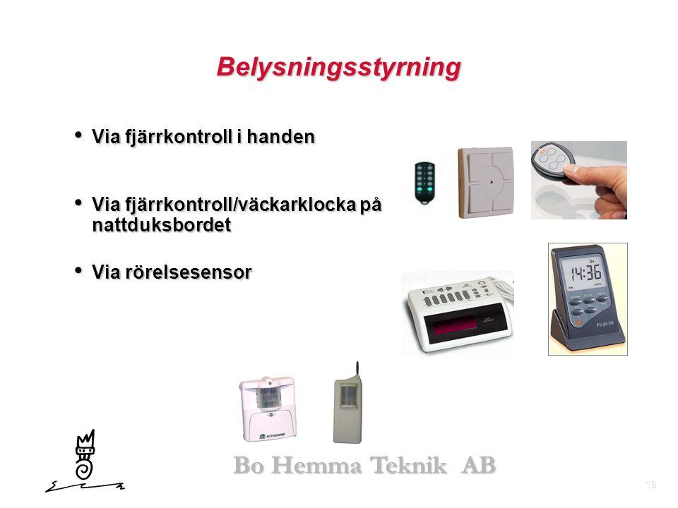 Belysningsstyrning Via fjärrkontroll i handen