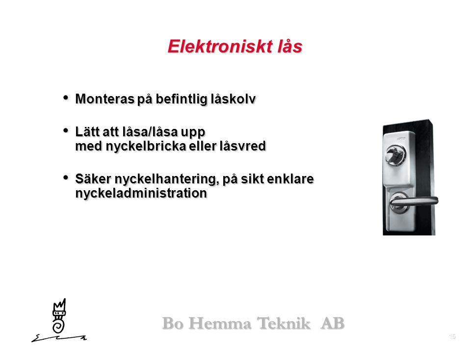 Elektroniskt lås Monteras på befintlig låskolv