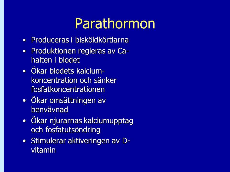 Parathormon Produceras i bisköldkörtlarna
