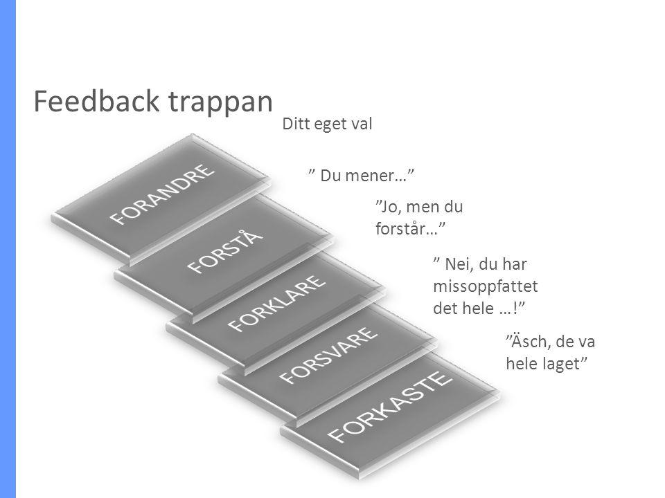 Feedback trappan FORANDRE FORSTÅ FORKLARE FORSVARE FORKASTE