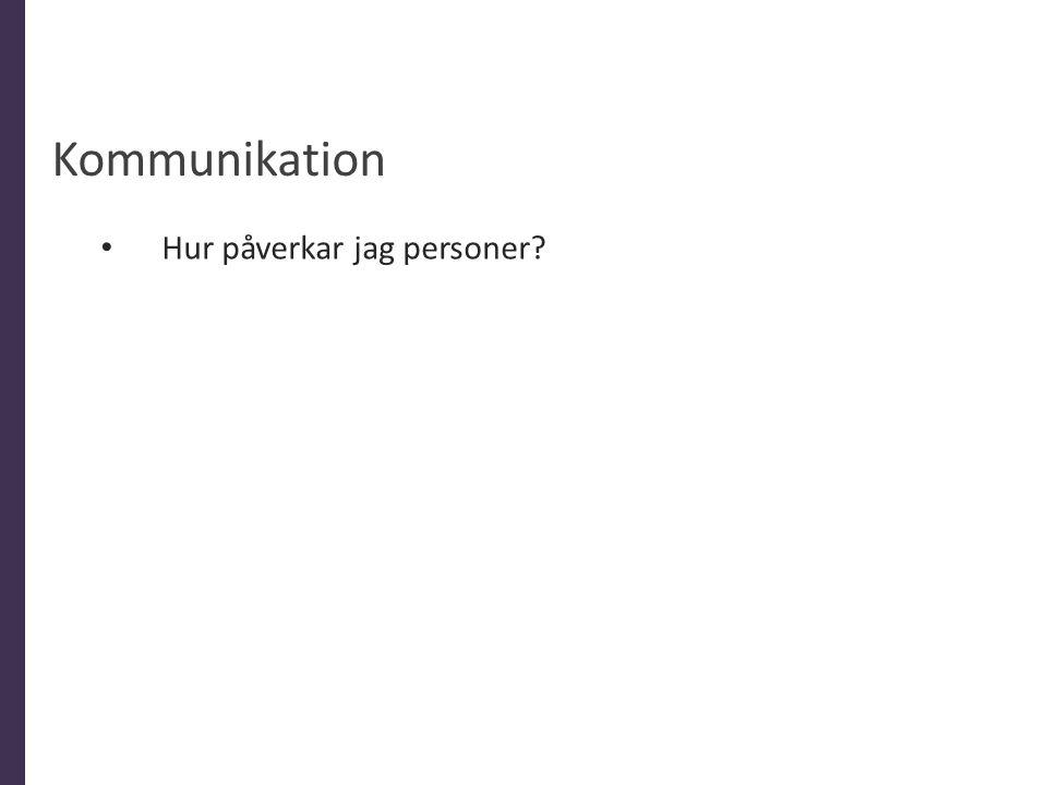 Kommunikation Hur påverkar jag personer Allmänt 10% är ord