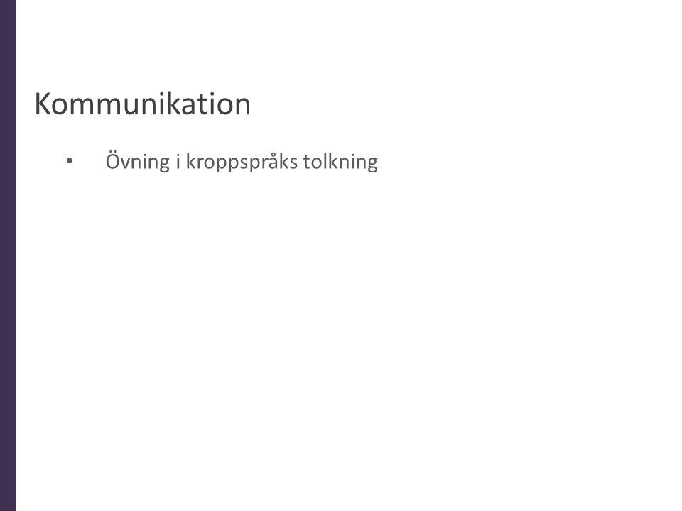 Kommunikation Övning i kroppspråks tolkning Allmänt