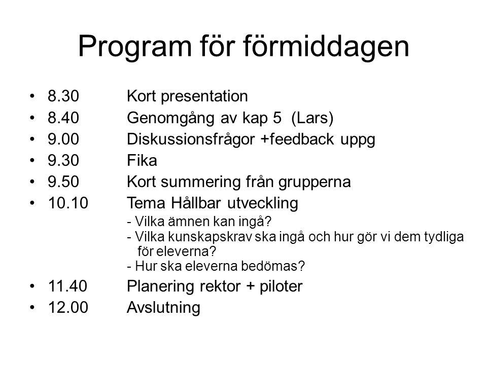 Program för förmiddagen