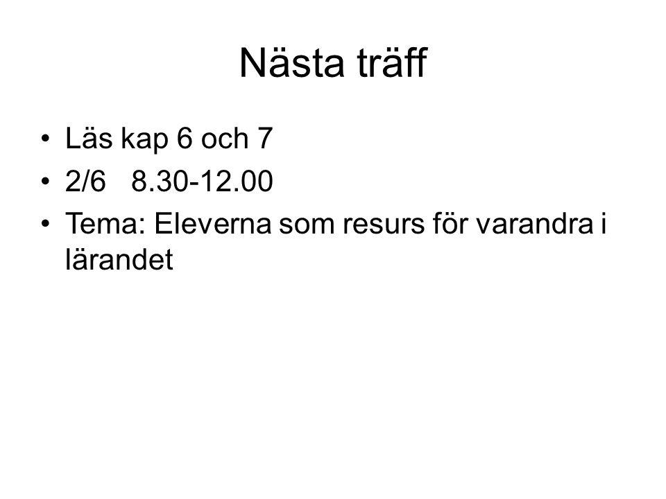 Nästa träff Läs kap 6 och 7 2/6 8.30-12.00