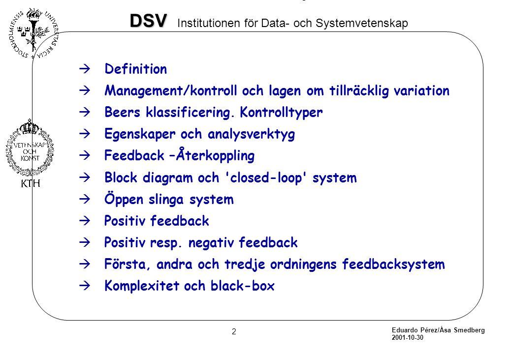 Definition Management/kontroll och lagen om tillräcklig variation. Beers klassificering. Kontrolltyper.