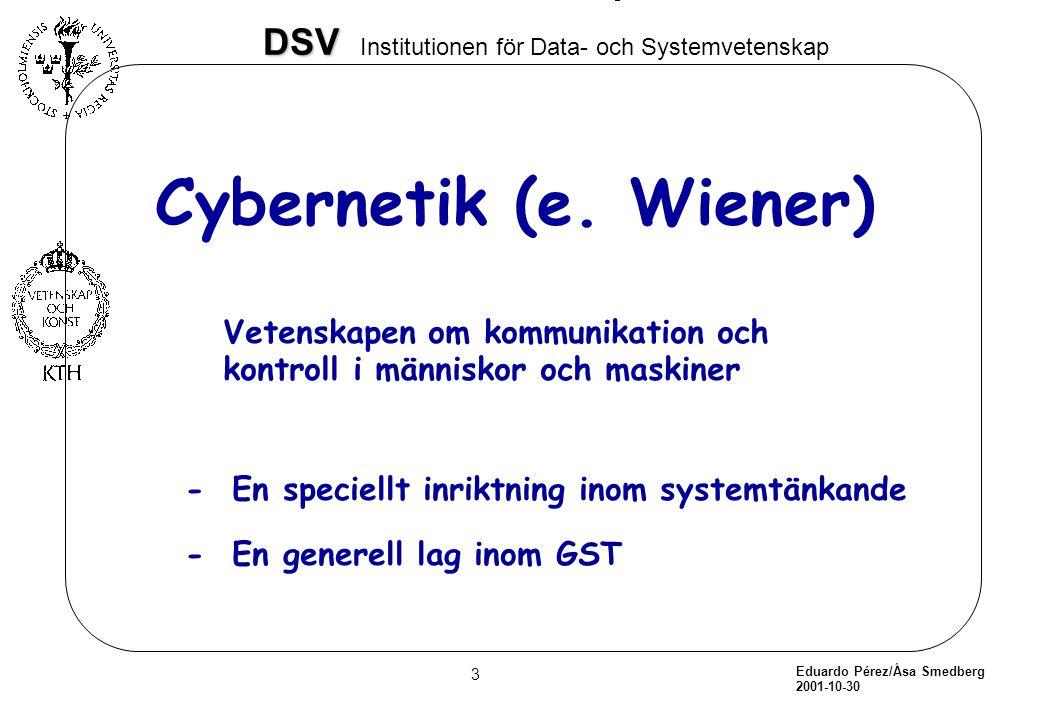 Cybernetik (e. Wiener) Vetenskapen om kommunikation och kontroll i människor och maskiner. - En speciellt inriktning inom systemtänkande.