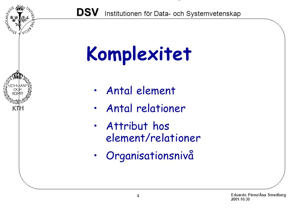 Komplexitet Antal element Antal relationer