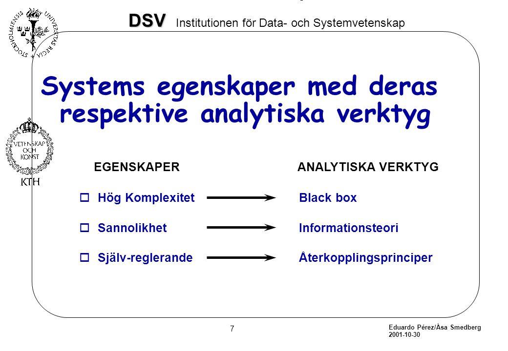 Systems egenskaper med deras respektive analytiska verktyg
