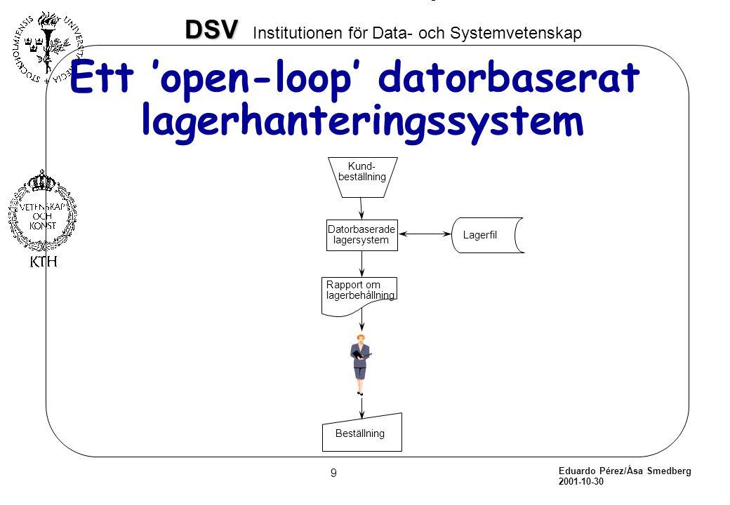 Ett 'open-loop' datorbaserat lagerhanteringssystem