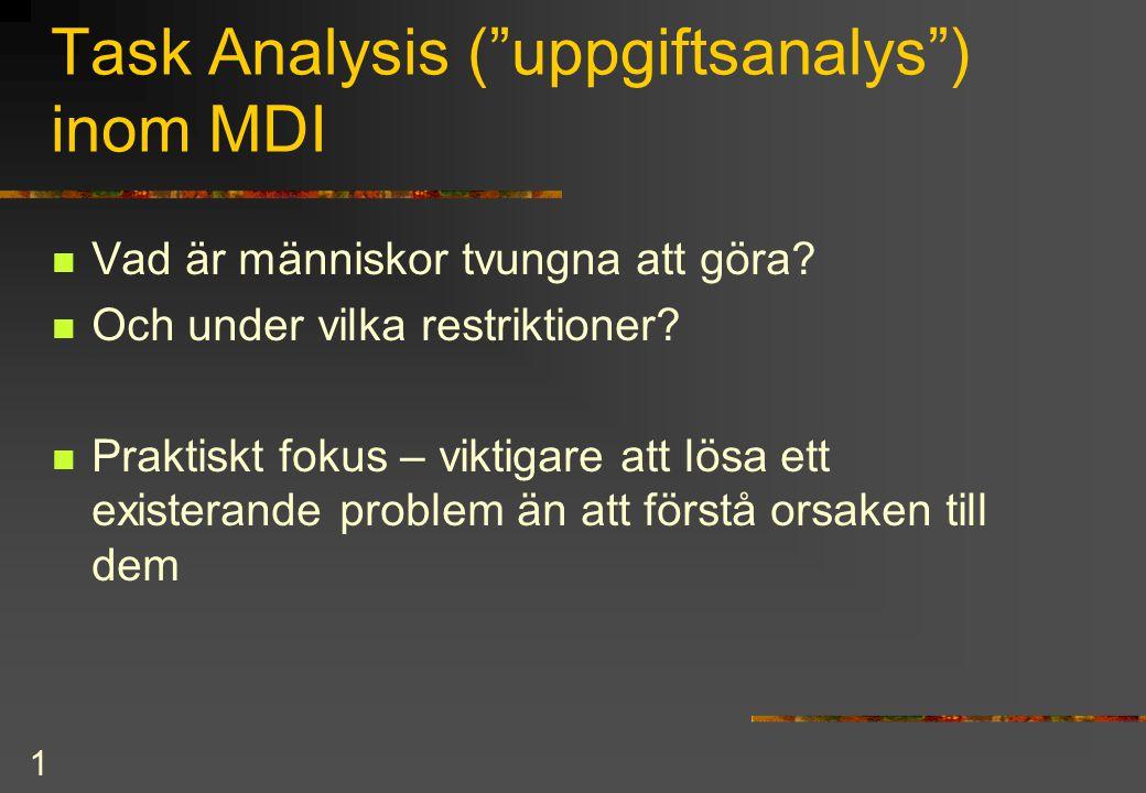 Task Analysis ( uppgiftsanalys ) inom MDI